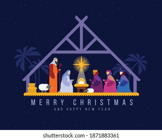 Merry christmas - Nightly christmas scenery mary joseph in a manger with baby Jesus and Three wise men vector design