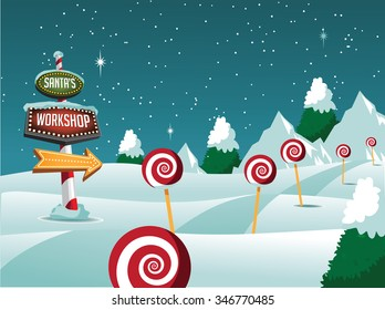 Merry Christmas north pole landscape with sign, lollipops. EPS 10 vector Royalty free illustration.
