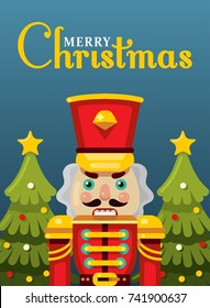 merry christmas nutcracker greeting poster flat style vector illustration