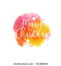 Merry Christmas on bright watercolor background in vector
