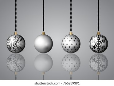 Merry christmas ornament in sliver color