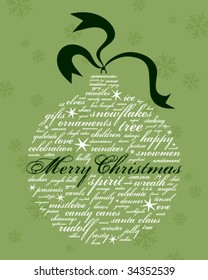 merry christmas and other holiday words in the shape of an ornament