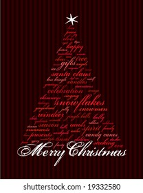 merry christmas and other words in red that make an abstract tree