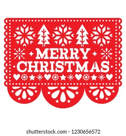 Merry Christmas Papel Picado vector design, Mexican Xmas greeting card, red and white paper decoration pattern. Festive red party banner inspired by garlands in Mexico with text, Christmas trees