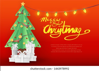 Merry Christmas Paper Art and New Year Celebration Concept Vector Art and Illustration
