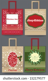 Merry Christmas paper bag set, vector illustration