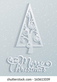 Merry christmas. Paper design. Festive spruce with Christmas balls. Hand-written text. Vector illustration for your design. Christmas template. Blank space for your text. Vector greeting card.
