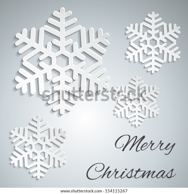 Merry Christmas - paper snowflakes design- vector EPS10