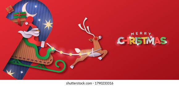 Merry Christmas papercut web banner ilustration. Santa claus riding reindeer sled inside candy cane shape made in recycled cardboard paper material. Eco holiday craft design for happy xmas wishes.