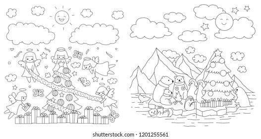 Merry Christmas part collection, cute angel preparing for Christmas and Animal in north pole waiting for count down party for printed cards, invitation and coloring book page. Vector illlustration