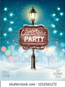 Merry Christmas Party Flyer background with evening winter landscape and lamppost. Vector