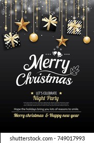 Merry christmas party and gift box on dark background invitation theme concept. Happy holiday greeting banner and card design template.