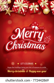 Merry christmas party and gift box for flyer brochure design on red background invitation theme concept. Happy holiday greeting banner and card template.