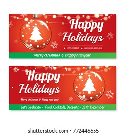 Merry christmas party and glass ball for flyer brochure design on red background invitation theme concept. Happy holiday greeting banner and card template.
