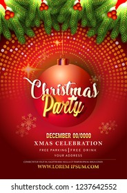 Merry Christmas party and Happy New Year party design template, poster with Elements red background