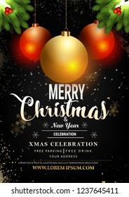 Merry Christmas party and Happy New Year party design template, invitation, poster with golden balls and grey background