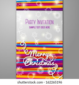 Merry Christmas Party invitation with bright laces on white background with snowflakes. With place for your text. Vector