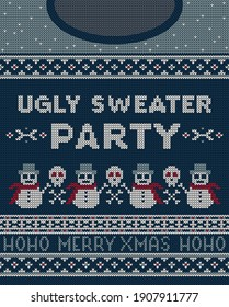 Merry christmas party invitation cards with knitted patterns and ornaments in Scandinavian style with snowmen and skulls. Ugly sweater christmas party.