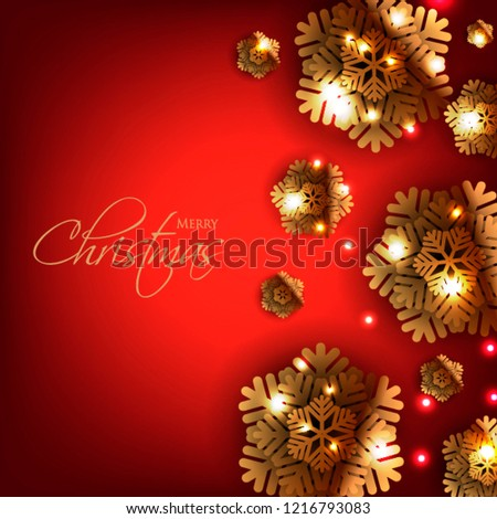 Christmas Invitation Background Gold.Merry Christmas Party Invitation Gold Origami Stock Vector