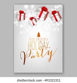 merry christmas party invitation happy new stock vector royalty