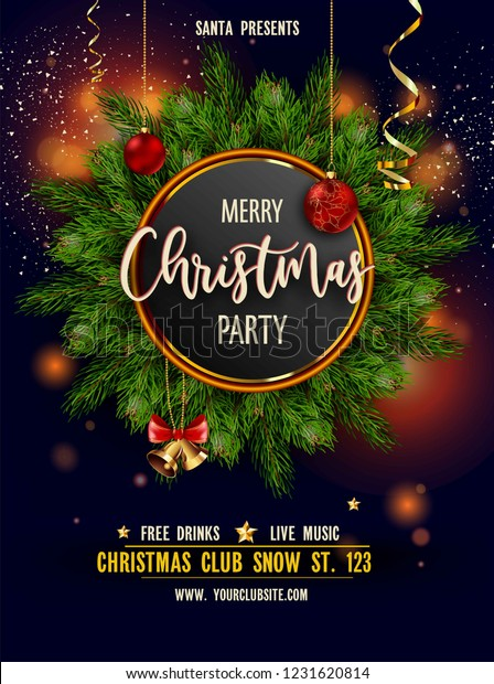 Merry Christmas Images Free.Merry Christmas Party Invitation Poster Main Stock Vector