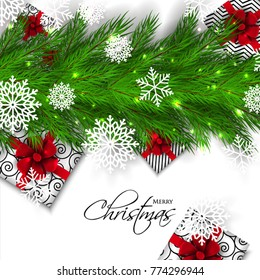 Merry Christmas Party invitation vector with fir pine wreath snowflake gift box red bow