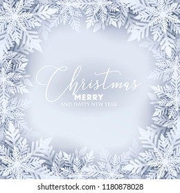 Merry Christmas Party invitation. White Origami Paper cut snow flake. Happy New Year Decoration. Winter snowflakes background. Seasonal holidays. Snowfall. Origami. Gray background. Vector