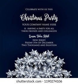 merry christmas party invitation white origami paper cut snow flake happy new year decoration