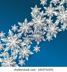 Merry Christmas Party invitation. White Origami Paper cut snow flake. Happy New Year card Decoration. Winter snowflakes background. Seasonal holidays. Snowfall. Origami. Blue background. Vector