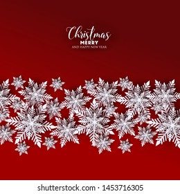 Merry Christmas Party invitation. White Origami Paper cut snow flake. Happy New Year card Decoration. Winter snowflakes background. Seasonal holidays. Snowfall. Origami. red background. Vector