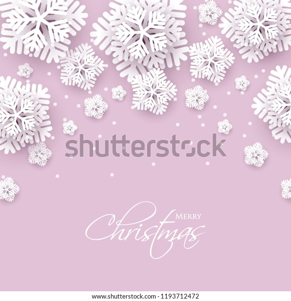 Merry Christmas Party invitation. White Origami Paper cut snow flake. Happy New Year Decoration. Winter snowflakes background. Seasonal holidays. Snowfall. Origami. Pink background. Vector 3D