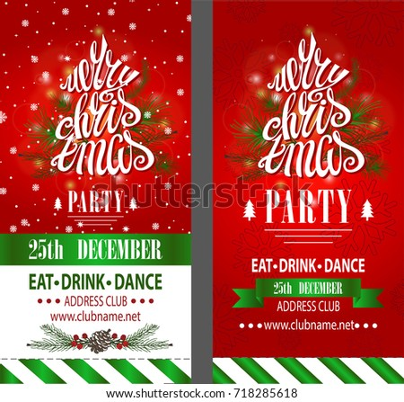 merry christmas party invitationdesign templateflyerticket set
