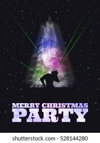 Merry Christmas party poster with snowflakes, dj, laser, dark color background