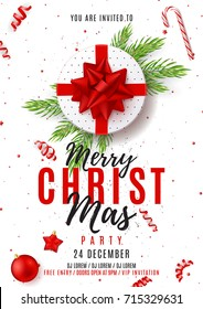 Merry Christmas Party Poster. Top view on white gift box with red bow on white backdrop. Vector illustration with confetti and serpentine. Invitation to nightclub with xmas ball, star and candy.