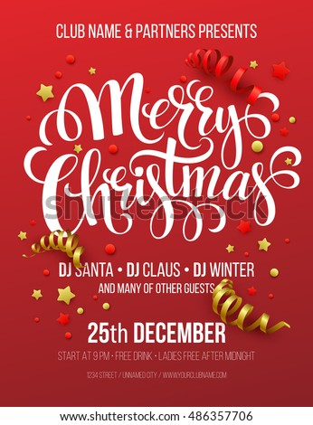 merry christmas party poster vector illustration のベクター画像素材