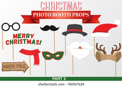 Merry Christmas Photo Booth Props, Fun Party printable masks, beard, deer, hat, glasses, north pole sign.