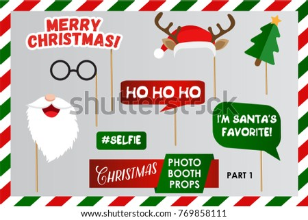merry christmas photo booth props fun party printable masks beard deer hat