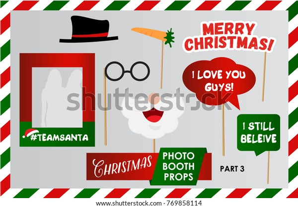 photo regarding Christmas Photo Booth Props Printable titled Merry Xmas Photograph Booth Props Entertaining Inventory Vector (Royalty