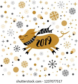 Merry Christmas Pig banner 2019 Cute golden pig, gold snowflakes stars banner on white New Year design template for print sign postcard booklet leaflets poster banner invitation Vector illustration