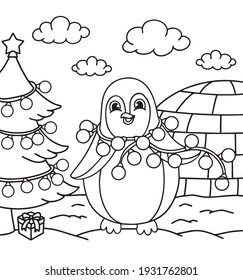 Merry Christmas pinguin coloring. Hand drawn vector illustration.  Coloring book pages for adults and kids.  pinguin entangled in a garland, decorations for the Christmas tree, stars
