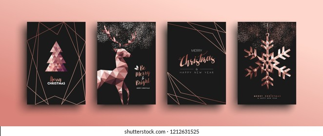 Merry christmas pink copper template set with holiday reindeer and xmas bronze elements in low poly style. Ideal for greeting card, poster or web design.