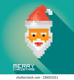 Merry Christmas pixel art style santa claus hipster poster for party or greeting card on azure background. Vector illustration