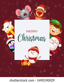 Merry Christmas placard. Smiling snowman in hat dancing in front of Christmas banner with smiling cartoon characters on background. Handwritten text can be used for greeting card, poster, leaflet