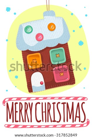 Merry Christmas Post Card Hand Craft Stock Vector Royalty Free