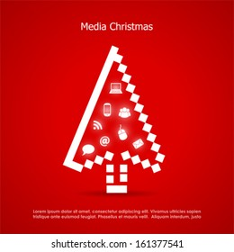 Merry christmas post card, media concept
