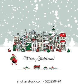 Merry christmas postcard with cityscape background. Vector illustration
