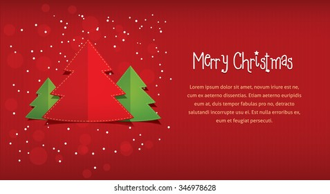 Merry Christmas postcard. flat style vector illustration of three 3 New Year trees with text frame placeholder. Red paper background with stripes and circles for card invitation greeting design.