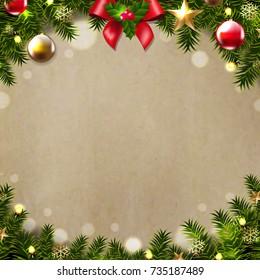 Merry Christmas Postcard Gradient Mesh Vector Illustration