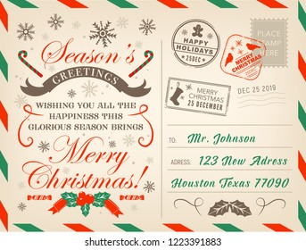 merry christmas postcard or letter xmas season greetings with stamps vector new year or