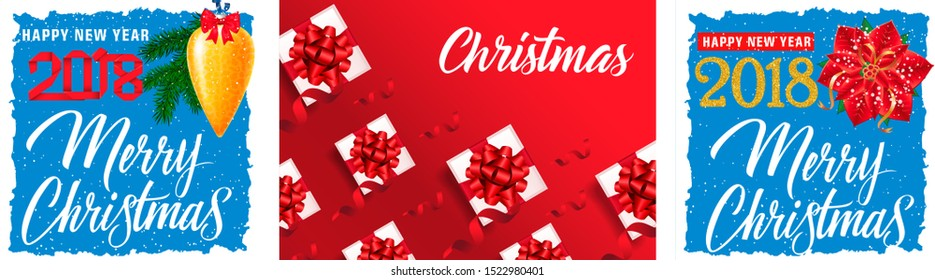 Merry Christmas postcard set with present boxes, poinsettia, gold bauble, fir tree on red and blue backgrounds. Vector illustration for festive posters, greeting cards, flyers